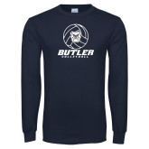 Navy Long Sleeve T Shirt---Volleyball Ball Design