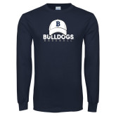 Navy Long Sleeve T Shirt---Baseball Cap Design
