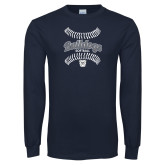 Navy Long Sleeve T Shirt---Softball Seams Designs