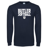 Navy Long Sleeve T Shirt---Stacked Block Softball