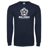 Navy Long Sleeve T Shirt---Soccer Ball Design