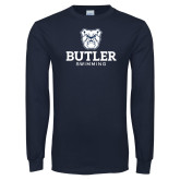 Navy Long Sleeve T Shirt--Swimming
