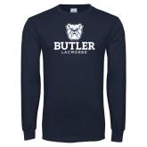 Navy Long Sleeve T Shirt--Lacrosse