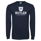 Navy Long Sleeve T Shirt-Club Hockey