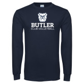 Navy Long Sleeve T Shirt-Club Volleyball