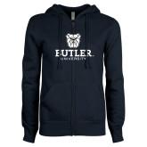 ENZA Ladies Navy Fleece Full Zip Hoodie-Butler University Stacked Bulldog Head
