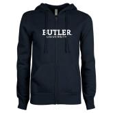 ENZA Ladies Navy Fleece Full Zip Hoodie-Butler University