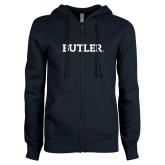 ENZA Ladies Navy Fleece Full Zip Hoodie-Butler