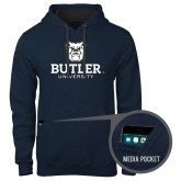 Contemporary Sofspun Navy Heather Hoodie-Butler University Stacked Bulldog Head