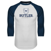 White/Navy Raglan Baseball T-Shirt-Butler University Stacked Bulldog Head Distressed