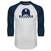 White/Navy Raglan Baseball T-Shirt---Baseball Cap Design