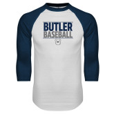 White/Navy Raglan Baseball T-Shirt---Stacked Block Baseball