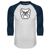 White/Navy Raglan Baseball T-Shirt-Bulldog Head