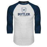 White/Navy Raglan Baseball T-Shirt-Butler University Stacked Bulldog Head