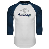 White/Navy Raglan Baseball T-Shirt-The Butler Way