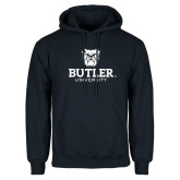 Navy Fleece Hoodie-Butler University Stacked Bulldog Head