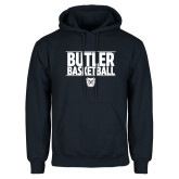 Navy Fleece Hoodie---Stacked Block Basketball