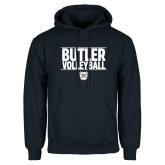 Navy Fleece Hoodie---Stacked Block Volleyball