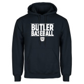 Navy Fleece Hoodie---Stacked Block Baseball