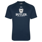 Under Armour Navy Tech Tee-Butler University Stacked Bulldog Head