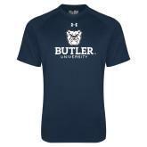 Under Armour Navy Tech Tee-Butler University Stacked Bulldog Head
