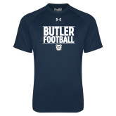 Under Armour Navy Tech Tee---Stacked Block Football