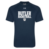 Under Armour Navy Tech Tee---Stacked Block Basketball
