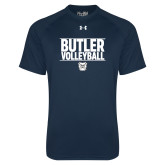 Under Armour Navy Tech Tee---Stacked Block Volleyball