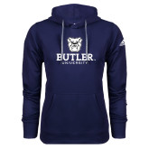 Adidas Climawarm Navy Team Issue Hoodie-Butler University Stacked Bulldog Head