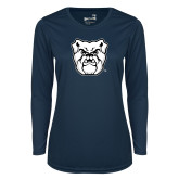 Ladies Syntrel Performance Navy Longsleeve Shirt-Bulldog Head