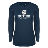 Ladies Syntrel Performance Navy Longsleeve Shirt-Butler University Stacked Bulldog Head