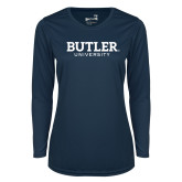 Ladies Syntrel Performance Navy Longsleeve Shirt-Butler University