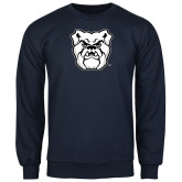 Navy Fleece Crew-Bulldog Head