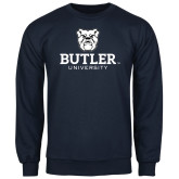 Navy Fleece Crew-Butler University Stacked Bulldog Head