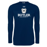 Under Armour Navy Long Sleeve Tech Tee-Butler University Stacked Bulldog Head