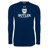 Under Armour Navy Long Sleeve Tech Tee-Butler University Stacked Bulldog Head