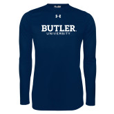 Under Armour Navy Long Sleeve Tech Tee-Butler University