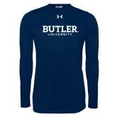 Under Armour Navy Long Sleeve Tech Tee-Butler University