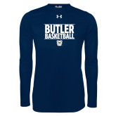 Under Armour Navy Long Sleeve Tech Tee---Stacked Block Basketball