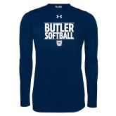 Under Armour Navy Long Sleeve Tech Tee---Stacked Block Softball