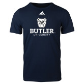 Adidas Navy Logo T Shirt-Butler University Stacked Bulldog Head