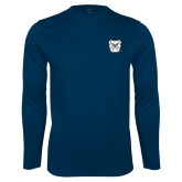 Syntrel Performance Navy Longsleeve Shirt-Bulldog Head