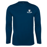 Syntrel Performance Navy Longsleeve Shirt-Butler University Stacked Bulldog Head