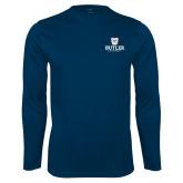 Performance Navy Longsleeve Shirt-Butler University Stacked Bulldog Head