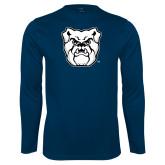 Performance Navy Longsleeve Shirt-Bulldog Head