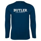 Performance Navy Longsleeve Shirt-Butler University