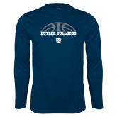 Syntrel Performance Navy Longsleeve Shirt---Arch Basketball Design