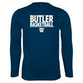 Performance Navy Longsleeve Shirt---Stacked Block Basketball