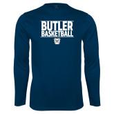 Performance Navy Longsleeve Shirt---Stacked Block Basketball
