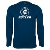 Performance Navy Longsleeve Shirt---Volleyball Ball Design
